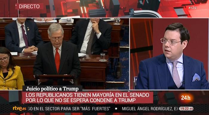 Ignacio de la Riva analiza en Canal 24 Horas de RTVE el impeachment a Donald Trump