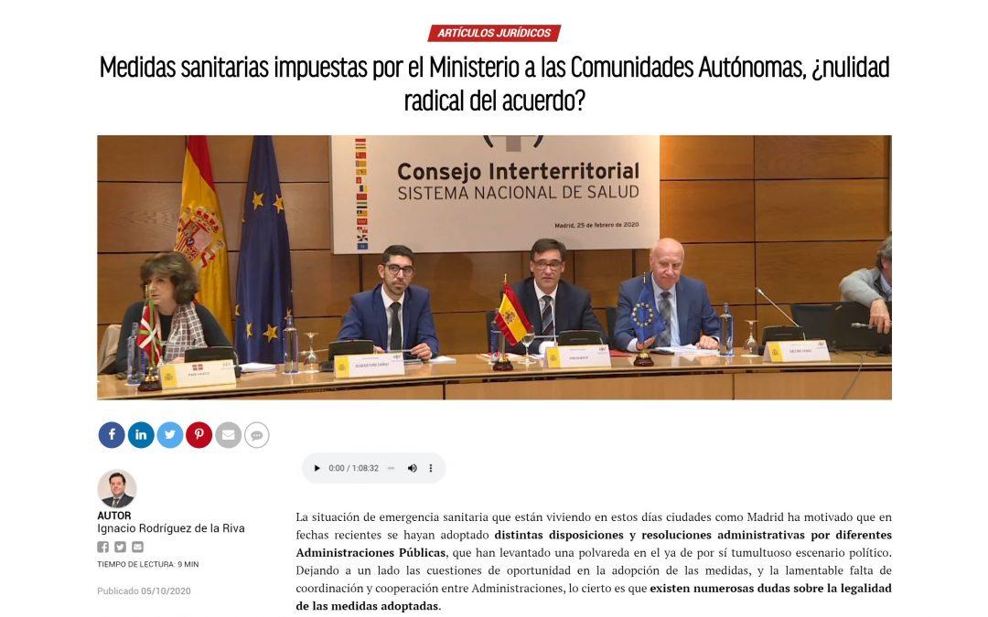 Medidas sanitarias impuestas por el Ministerio a las Comunidades Autónomas, ¿nulidad radical del acuerdo?