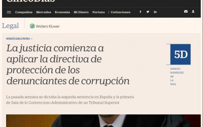 La justicia comienza a aplicar la directiva de protección de los denunciantes de corrupción