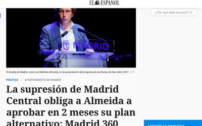 La supresión de Madrid Central obliga a Almeida a aprobar en 2 meses su plan alternativo: Madrid 360